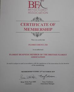 Flores Diem Ltd are please to announce that we are now members of the British Floristry Association and as such are governed to work in accordance with it's regulations Unique Flower Arrangements, Unique Flowers, Peace Of Mind, Wedding Flowers, British, Marketing, Wedding Bouquets, Wedding Ceremony Flowers, British People