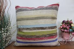 colored kilim pillow very rare pillow aztec pillow 24x24 #etsy #pillow #handmade