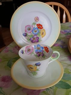 "Rare 1930s Shelley Art Deco, Regent Shape,Teacup Saucer Trio, flower bouquet, Made in England, ""Phlox"" pattern"