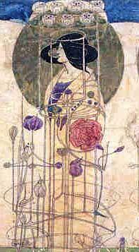 Design for stencilled mural decoration.Miss Cranstons Tea Rooms. Charles Rennie Mackintosh. Hunterian Art Gallery.