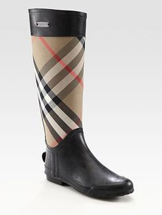 Burberry Canvas Check Rain Boots (My birthday's coming up....#justsayin)