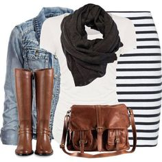 Casual outfit. black & white striped skirt, white tee, black scarf, denim jacket, brown riding boots & handbag