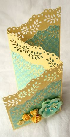 Zig zag card with border punched edges. I so have to do this. Beautiful.