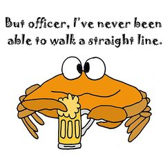 Funny Beer Drinking Crab Cartoon