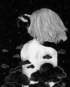 image découverte par Emma Fane. Découvrez (et enregistrez !) vos images et vidéos sur We Heart It Art Sketches, Art Drawings, Drawing Art, Arte Obscura, Arte Sketchbook, Moon Art, Psychedelic Art, Aesthetic Art, Dark Art