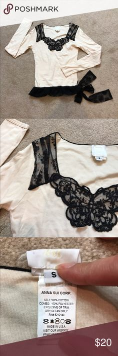 Anna sui shirt S Anna sui shirt, white with black lace, great condition Tops Tees - Long Sleeve