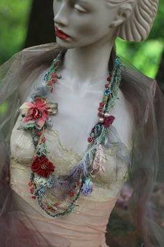 sassy bohemian necklace, shabby chic soft  layered  long necklace from vintage and antique handmade lace trims, fibers, beads