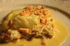 Crabe à la Riseholme - Spider crab in cream sauce - organic raw cream, cheese and carrots.