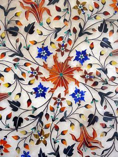 .Exquisite Pietra Dura Inlay-work on Marble with Precious Gems-stones, Jaipur City Museum, Jaipur, Rajasthan, India.