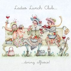 illustration ladies who lunch Birthday Greetings, Birthday Wishes, Birthday Cards, Happy Birthday, Desenho Pop Art, Old Lady Humor, Ladies Who Lunch, Crazy Friends, Art Impressions