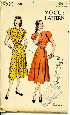 1940's Day Dress  Tab Accents  VOGUE 6025  by ShellMakeYouFlip, $24.00