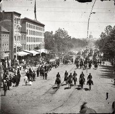 Civil War Vintage Photos / Artillery unit passing on Pennsylvania Avenue near the Treasury, Washington, D.C. May 1865.