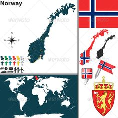 Buy Map of Norway by on GraphicRiver. Vector map of Norway with regions, coat of arms and location on world map. Package contains: EPS version), JPG