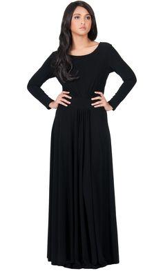 HAYDEN - Round Neck Long Sleeve Maxi Dress