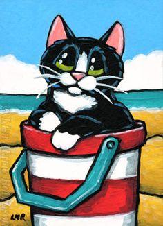 Original-ACEO-Tuxedo-Cat-Seaside-Animals-Striped-Bucket-Lisa-Marie-Robinson
