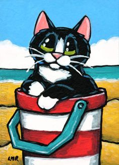 Original-ACEO-Tuxedo-Cat-Seaside-Animals-Striped-Bucket-Lisa-Marie-Robinson