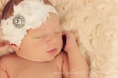 Baby Headband..Baby Girl Headband..Newborn Headband..Infant Headband..Baby Bow Headbands- WHITE rosette headband. on Etsy, $7.95