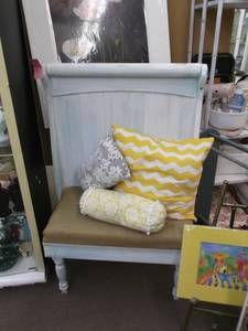 SOLD - This charming shabby chic bench was re-purposed from an old headboard. It has burlap seat and 3 decorative pillows. ***** In Booth D11 at Main Street Antique Mall 7260 E Main St (east of Power RD on MAIN STREET) Mesa Az 85207 **** Open 7 days a week 10:00AM-5:30PM **** Call for more information 480 924 1122 **** We Accept cash, debit, VISA, MasterCard or Discover.