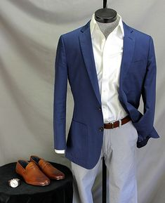 With a blue unstructured sportcoat and light pants | How to wear it: Sleek Penny Loafers in Summer on Dappered.com