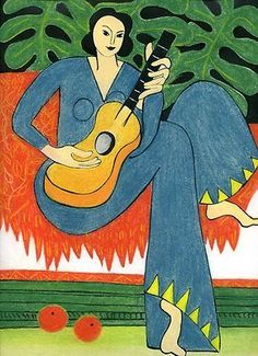 Henri Matisse - 1942 Woman with a guitar Henri Matisse, Matisse Kunst, Matisse Art, Matisse Paintings, Post Impressionism, French Artists, Painting & Drawing, Painting Lessons, Art History