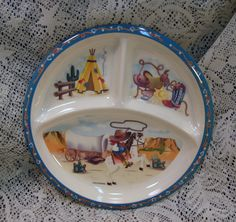 Vintage Childs Western Theme Divided Plate Pecoware Mint Melamine Ware $8.99 Etsy & Trio of Shin-San Melamine Children\u0027s Divided Plates from Peco ...