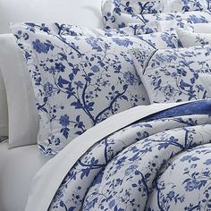 Charlotte Throw Pillow by Laura Ashley Home Laura Ashley, Ashley Blue, White Damask, Blue China, Comforter Sets, Floral Comforter, Blue Comforter, White Decor, Duvet Cover Sets