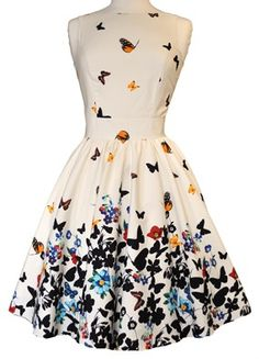 Beautiful White Butterfly Tea Dress.