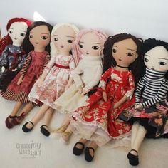 Fun rag doll and cat sewing patterns. by CreateJoyMakeStuff Doll Crafts, Diy Doll, Primitive Doll Patterns, Fabric Toys, Sewing Dolls, Soft Dolls, Cute Dolls, Doll Face, Stuffed Toys Patterns