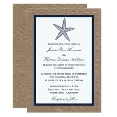 The Navy Starfish Burlap Beach Wedding Collection Invitation Burlap Bridal Showers, Navy Bridal Shower, Beach Bridal Showers, Elegant Bridal Shower, Destination Wedding Invitations, Wedding Invitation Cards, Bridal Shower Invitations, Wedding Cards, Invitation Card Design