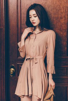 Ribbon Tie Waist Shirt Dress
