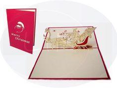 Aufklappbare POP UP Weihnachtskarte mit Weihnachtsmann im Schlitten. Mehr entdecken auf: www.lin-popupkarten.de