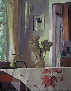"""Carole Rabe Dried Hydrangeas oil on canvas 28"""" x 22"""" 2010"""