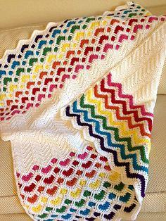 Ravelry: YarnNCakes' Reversible sweetheart chevron rainbow baby blanket