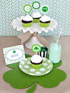 St. Patrick's Day Cupcake Toppers: Baking cupcakes to celebrate St. Patrick's Day? Make them festive with these fun, printable party circles. All you need is paper, a craft punch, lollipop sticks and labels. @HGTV