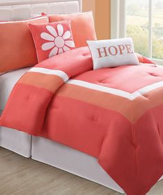 Take a look at this Coral Hotel Comforter Set by Victoria Classics on #zulily today!