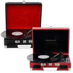 Listen to albums on 33 1/3, 45 and 78 vinyl records with the Roadster 3-Speed Suitcase Turntable. Cool as it is functional, the turntable features built-in speakers, a headphone jack and RCA outputs to be connected to auxiliary systems.