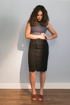 The Updated Pencil Skirt — Cladwell Modern Minimalist, Business Casual, Work Wear, Leather Skirt, High Waisted Skirt, Denim, Skirts, How To Wear, Fashion