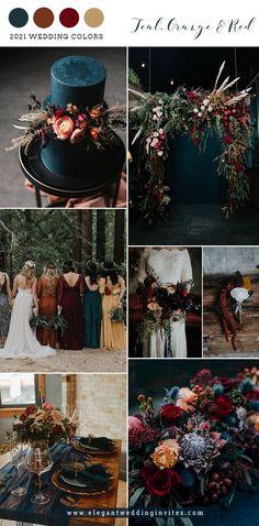 Fall Wedding Colors, Wedding Color Schemes, October Wedding Colors, Color Themes For Wedding, Perfect Wedding, Dream Wedding, Dark Red Wedding, Bohemian Wedding Theme, Jewel Tone Wedding