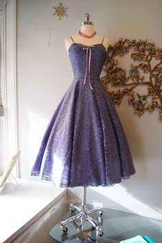 French blue and lilac 50's lace party dress