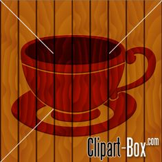 CLIPART COFFEE CUP ICON ON WOODEN WALL
