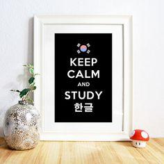 Keep Calm and Study Hangul Print.