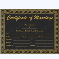 Vital Records like Marriage and Divorce Records can be obtained online. Wedding Certificate, Marriage Certificate, Marriage Records, Certificate Templates, Layouts, How To Remove, Names, Words, Day