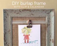 DIY burlap frame wit