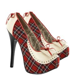 These Womens Red Plaid Teeze Shoes feature a 5 3/4 inch black stiletto heel and a cute red plaid and tan design on the shoe. Description from bestpriceprobe.com. I searched for this on bing.com/images
