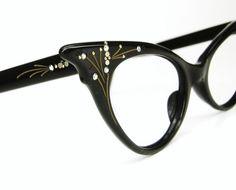 Vintage French Black 1950s Cat Eye Eyeglasses Sunglasses Frame