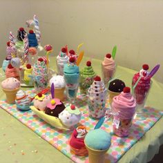 Receiving Blanket Milkshakes, Ice Cream Sundae Onesies,Onesie Cupcakes, Washcloth Lollipops and Sock Lollipops for Baby Shower Diaper Cupcakes, Onesie Cupcakes, Diy Diaper Cake, Washcloth Cupcakes, Washcloth Lollipops, Nappy Cakes, Baby Shower Baskets, Baby Shower Diapers, Baby Boy Shower