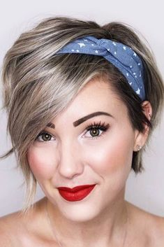24 Gorgeous Looking Variants On How To Style A Pixie Cut is part of Short hair accessories - How to style a pixie cut We have some gorgeous ideas, different tips, and suggestions for you that will make your pixie haircut look even more creative Pixie Hairstyles, Headband Hairstyles, Bandana Hairstyles Short, Layered Hairstyles, Easy Hairstyle, Hairstyle Ideas, Short Hair Bandana, Short Hair Long Bangs, Short Asymmetrical Hairstyles