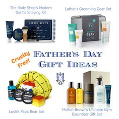 Cruelty Free Father's Day Gift Ideas   The Body Shop's Modern Gent's Shaving Kit   Lather's Grooming Gear Set   Lush's Papa Bear Set   Molton Brown's Ultimate Gym Essentials Gift Set