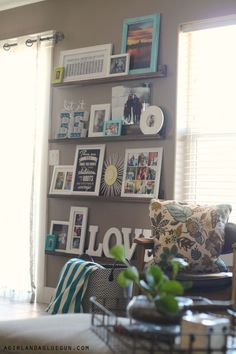 with pictures-easy diy picture ledges Decorating with pictures—easy diy picture ledges!Decorating with pictures—easy diy picture ledges! Small Living Room Design, New Living Room, Home And Living, Living Room Designs, Living Room Decor, Decorating With Pictures, Decorating With Gray Walls, Up House, Family Pictures