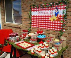 Snow White themed birthday party with Such Fun Ideas via Kara's Party Ideas | Cake, decor, cupcakes, games and more! KarasPartyIdeas.com #snowwhite #princessparty #snowwhiteparty